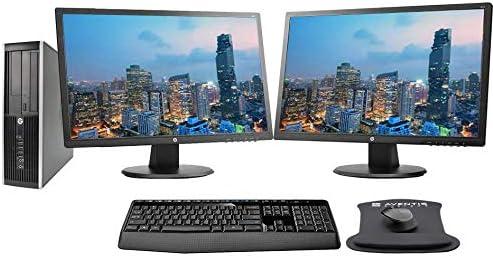 "HP EliteDesk 8100 SFF PC Bundle with Dual (2) 24"" HP FHD Monitors, Wireless Keyboard, Mouse, Mousepad, WiFi, i5, 8GB RAM, 256GB SSD, Win 10 Pro (Renewed)"