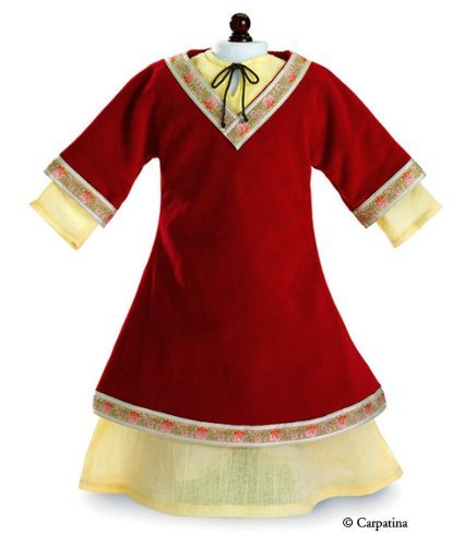 """Carpatina Dolls Medieval Renaissance Princess Red Dress & Chemise Fits 18"""" American Dolls, Red/Yellow"""