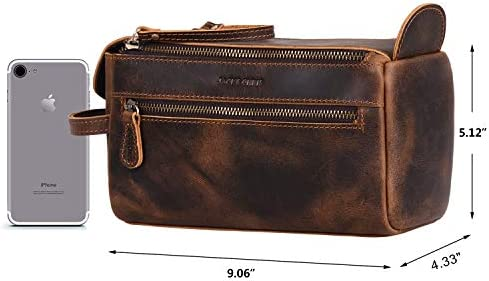 Jack&Chris Thicker Genuine Leather Unisex Travel Toiletry Bag Dopp Kit, Cosmetic & Shaving Bag for Travel Organizer Accessories, Double Zipper Puller & Both Side Zipper Pockets. (Distressed Tan)1800-8