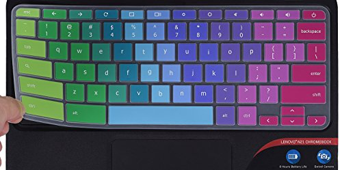 """Colorful Lenovo Chromebook Keyboard Cover Fit 2020 2019 2018 Lenovo Chromebook C330 11.6""""/Flex 11 Chromebook/Chromebook N20 N21 N22 N23 100e 300e 500e 11.6""""/Chromebook N42 N42-20 14 inch, Rainbow"""