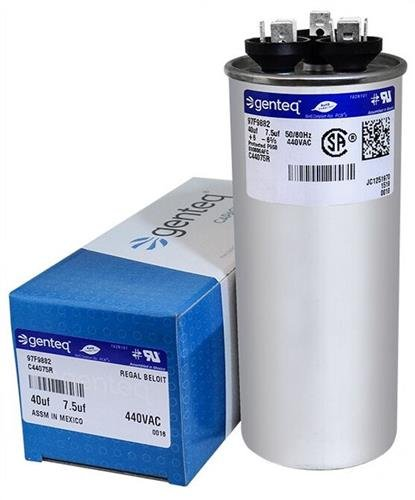 GE Genteq Capacitor round 40/7.5 uf MFD 440 volt 97F9882 (replaces old GE# Z97F9882 & 97F9882BZ3), 40 + 7.5 MFD at 440 volts