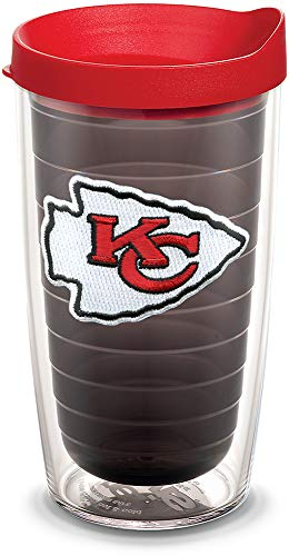 Tervis 1058495 NFL Kansas City Chiefs Primary Logo Tumbler with Emblem and Red Lid 16oz, Quartz