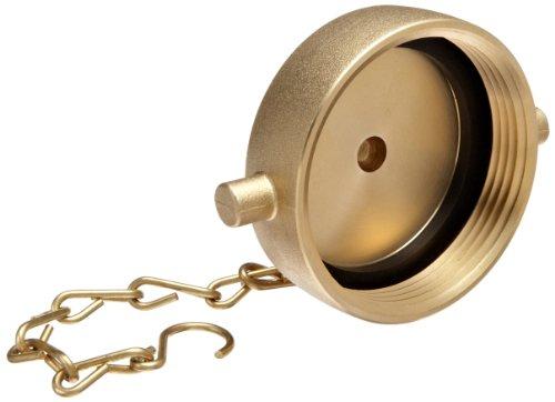 """Moon 662-2521 Brass Fire Hose Fitting, Cap, 2-1/2"""" NH Cap"""