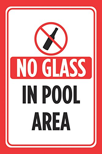 No Glass in Pool Area Red Black Print Pools Rules Poster Swimming Outdoor Caution Notice Sign