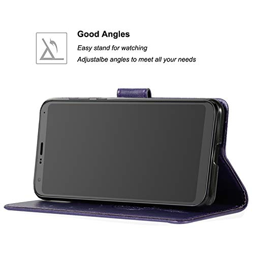 Galaxy A6 Plus 2018 Case, Booceicd [Wrist Strap] Luxury PU Leather Wallet Flip Protective Case Cover with Card Slots and Stand for Samsung Galaxy A6 Plus 2018
