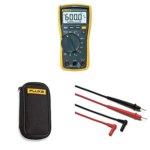 Fluke 117 Electricians True RMS Multimeter with compact soft case C50 and Corporation FLUTL75 Hard Point Test Lead Set