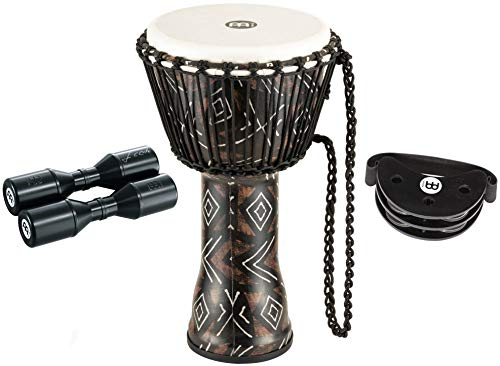 "Meinl Percussion Djembe Bundle with Foot Tambourine and Free Shaker, Travel Series-NOT MADE IN CHINA-All Weather Head/Shell, 2-YEAR WARRANTY, 10"" x 20"" (KSDB10)"