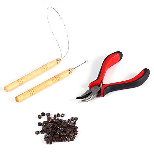 Filfeel 100PCS Silicone Beads Hair Extension Micro Rings + Hook Needle + Pulling Loop + Plier Tool Kit