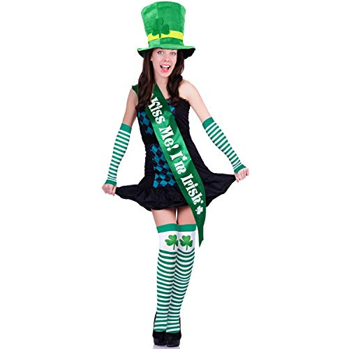 Chuangdi 6 Pieces St. Patrick's Day Parade Costume Accessories, St. Patrick's Day Hat and Shamrock Arm Sleeve, Striped Thigh Stockings and Irish Sash for Saint Patrick Party Costume (Unisex)
