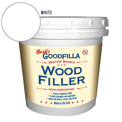 Water-Based Wood & Grain Filler - White - 1 Quart by Goodfilla | Replace Every Filler & Putty | Repairs, Finishes & Patches | Paintable, Stainable, Sandable & Quick Drying