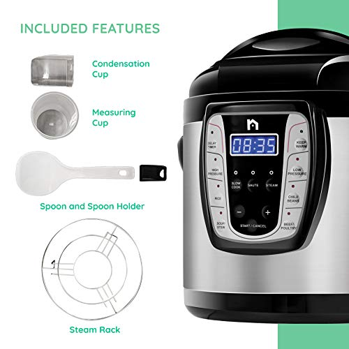 New House Kitchen Electric Pressure 9-in-1 Programmable Multicooker Prepare Meals in an Instant, Dishwasher Safe Aluminum Pot, Multifunctional Rice Cooker, Steamer, Sauté Pan, Soup Maker, 6 Quart