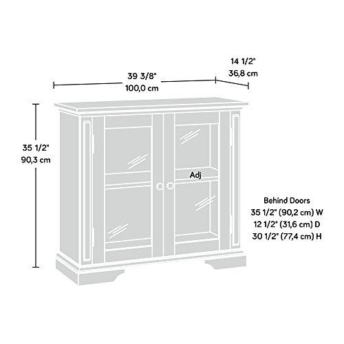 """Sauder New Grange Display Cabinet, L: 39.37"""" x W: 14.49"""" x H: 35.55"""", Cobblestone Finish"""
