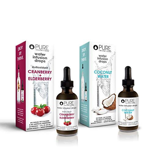 Pure Inventions Water Infusion Drops Duo Set – Coconut Water (30 Servings) and Cranberry Elderberry (60 Servings) Combo – Water Enhancer for Antioxidants, Wellness, and Hydration 3