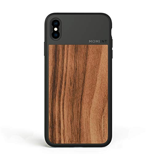 Moment Protective iPhone Xs Max Case - Durable Wrist Strap Friendly Case for Photography and Camera Lovers (Walnut Wood)
