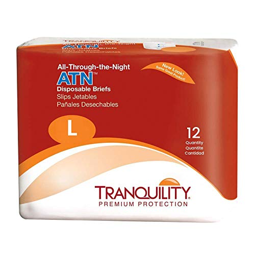 """Tranquility ATN Adult Disposable Briefs with All-Through-The-Night Protection, L (45""""-58"""") - 72 ct (Pack of 6)"""