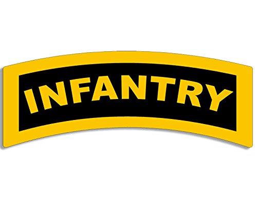 American Vinyl Yellow Infantry Tab Shaped Sticker (Army gi Grunt SSI Military Logo)