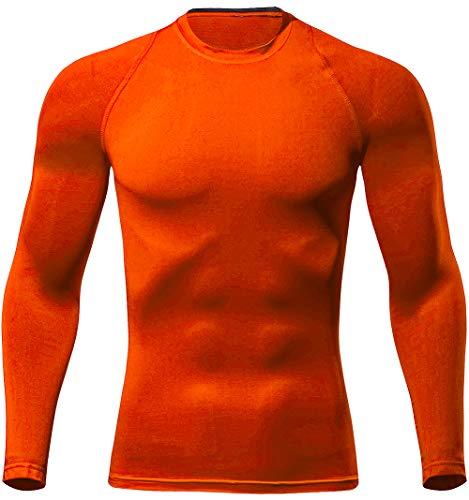 Lavento Men's Compression Shirts Crewneck Long-Sleeve Moisture-Wicking Baselayer Undershirts