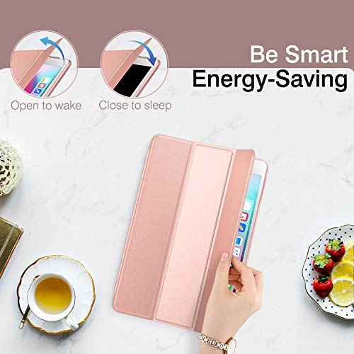 Dadanism iPad 9.7 2018 Case 6th Generation/iPad 9.7 2017 Case 5th Generation, [Flexible TPU Translucent Soft Back] Ultra Slim Lightweight Trifold Stand Smart Cover with Auto Sleep/Wake, Rose Gold