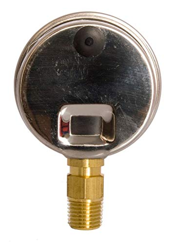 """2"""" Oil Filled Vacuum Pressure Gauge - Stainless Steel Case, Brass, 1/4"""" NPT, Lower Mount Connection, 30HG/60PSI"""