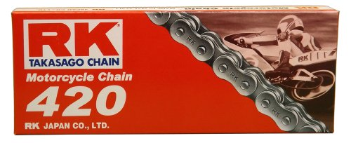 RK Racing Chain M420-100 (420 Series) 100-Links Standard Non O-Ring Chain with Connecting Link