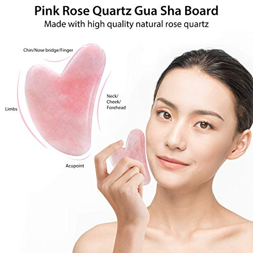 Jade Roller & Gua Sha, Face Roller, Facial Beauty Roller Skin Care Tools, BAIMEI Rose Quartz Massager for Face, Eyes, Neck, Body Muscle Relaxing and Relieve Fine Lines and Wrinkles 7