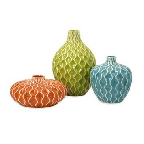 IMAX 11-11 Agatha Ceramic Vases – Set of 11 Decorative Vases for Flowers –  Handcrafted Vessels with Wave Surface Texture Design. Home Decor