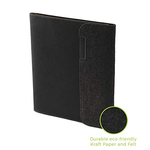 """Rocketbook Smart Notebook Folio Cover - 100% Recyclable, Biodegradable Cover with Pen Holder, Magnetic Clasp & Inner Storage - Dark Matter Black, Letter Size (8.5"""" x 11"""")"""