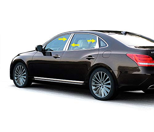 Made in USA! Works with 2012-2017 Hyundai Equus 6PC Stainless Steel Chrome Pillar Post Trim