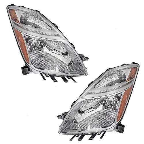 Halogen Headlights Headlamps Driver and Passenger Replacements for 06-09 Toyota Prius 81170-47160 81130-47160