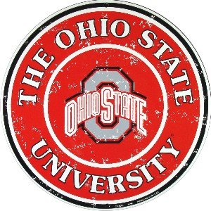 Tag City Ohio State Buckeyes 12 Inch Embossed Metal Nostalgia Circular Sign