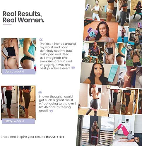 Fabric Non Slip Hip Resistance Bands and BootyHIIT Butt Workout Set by BTX Fifteen, Set of 3 Bands, 6 Week Program and Superfood Guide Included 10