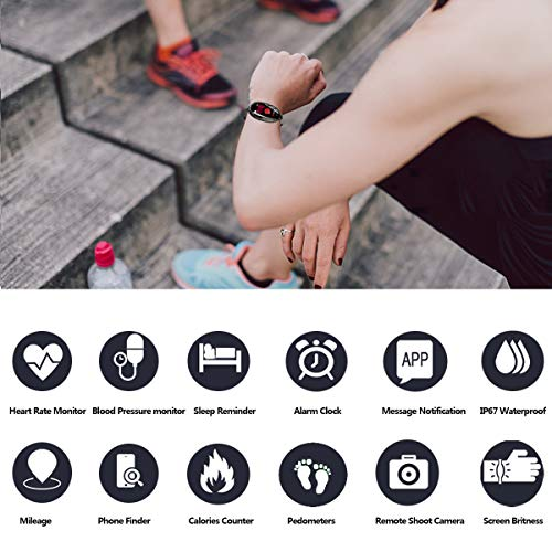 TMYIOYC Fitness Tracker, IP67 Waterproof Activity Tracker Watch with Pedometer, Call Reminder, Heart Rate Monitor, Smart Bracelet Calorie Counter Fitness Band, Phone Finder Sports Watch for Women