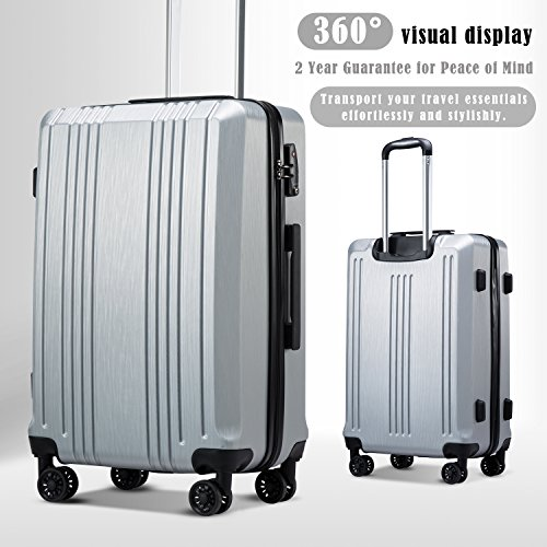 Coolife Luggage Suitcase PC+ABS with TSA Lock Spinner Carry on Hardshell Lightweight 20in 24in 28in (sliver, L(28IN))