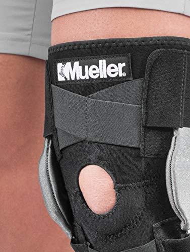 Mueller Sports Medicine Adjustable Hinged Knee Brace, Black/Gray, One Size Fits Most