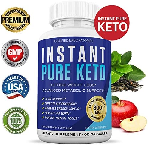 Instant Pure Keto Pills Advanced BHB Boost Ketogenic Supplement Exogenous Ketones Ketosis for Men Women 60 Capsules 1 Bottle 4