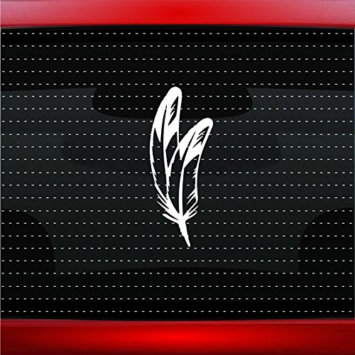 Noizy Graphics Feather #5 Indian Native American Car Sticker Truck Window Vinyl Decal Color: Silver