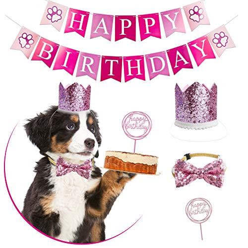 GAGILAND Dog Birthday Bandana Hat Banner Set Dog Boy Girl Cute Bow Tie Scarf Birthday Party Supplies Decorations (Pink-Crown&Collar&Cake Topper&Banner)