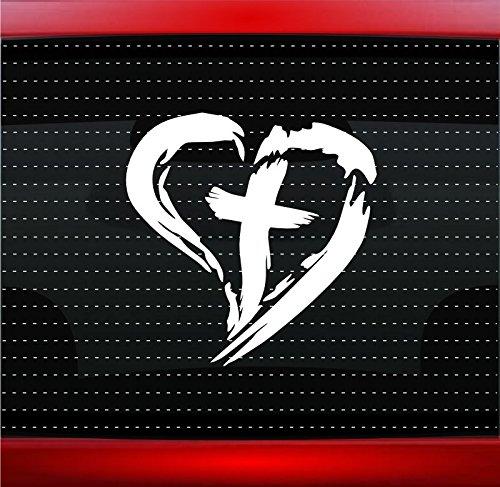 Noizy Graphics Cross Heart #3 Christian Car Sticker Truck Window Vinyl Decal Color: Green
