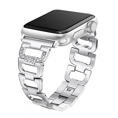 Secbolt Bling Band Compatible Apple Watch Band 38mm 40mm iWatch Series 5, Series 4, Series 3, Series 2, Series 1, Diamond Rhinestone Stainless Steel Metal Wristband Strap, Silver