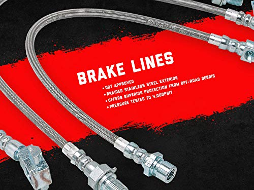 Rough Country Replacement Rear Stainless Steel Brake Lines (fits) 1980-1996 F150 Bronco 4WD 89330S