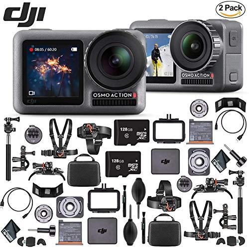 DJI Osmo Action 4K Camera x2-128GB MicroSD Memory Card x2 - Mounting Kits x2 - USBreader x2 - Cleaning Cloth x2 & More