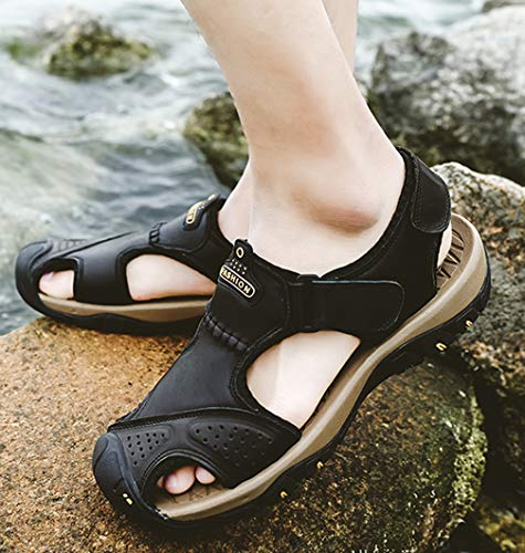 Seaoeey Men's Leather Casual Sandals Super Soft Bottom Outdoor Sport Shoes Beach Shoe