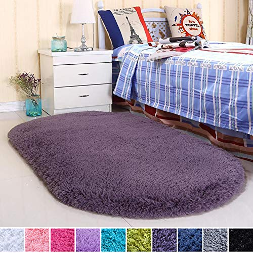 Noahas Ultra Soft Velvet Bedroom Rugs Kids Room Carpet Modern Shaggy Area Rugs Home Decor 2.6' X 5.3', Grey-Purple