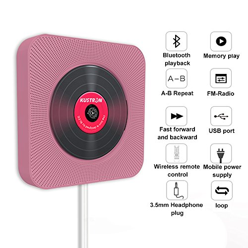 KUSTRON CD Player, Bluetooth Portable CD Player, Wall Mountable Player with Radio,No Battery, Compact USB Connection, Pull-Switch Cable to Turn ON/Off Perfect Decoration in Kitchen/Home/Bedroom(Pink)