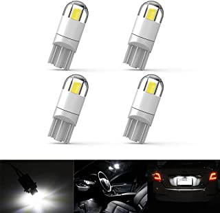 4Pcs Extremely Bright 3030 Chipset 194 LED Bulbs for Car Interior Map Dome Lamp Courtesy Trunk License Plate Dashboard Parking Lights T10 168 194 2825 Xenon White (LATEST UPGRADE D MODEL)