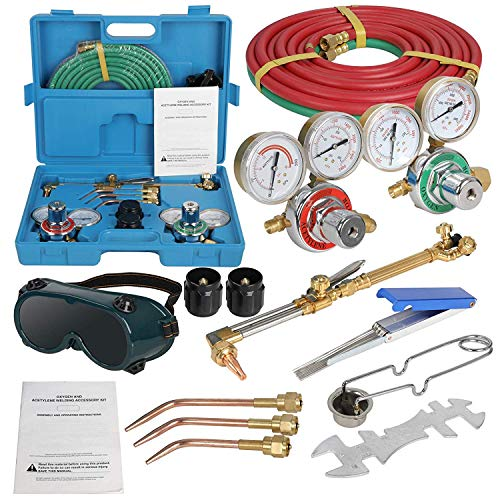 ZENSTYLE Oxygen & Acetylene Gas Cutting Torch and Welding Kit Portable Oxy Brazing Welder Tool Set with Two Hose,Goggles,Regulator Gauges,Storage Case