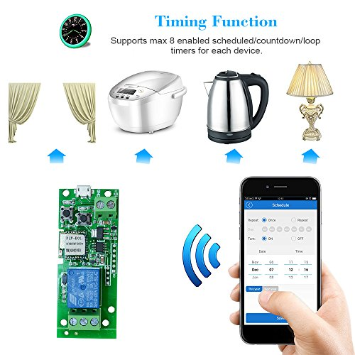 Sonoff Wifi Switch, USB DC5V Wireless Relay Module Smart Home Automation Modules APP Remote Control Timer Switch Voice Control with Alexa Google Home Access Control System