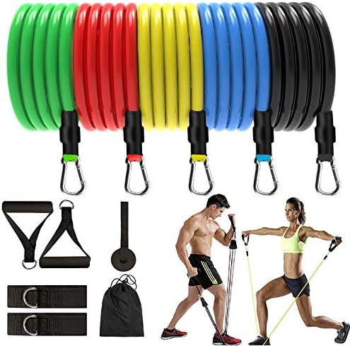 DSDAI Exercise Fitness Resistance Bands Set Home Workout,5 Stackable Exercise Bands,with Door Anchor, Handles,Ankle Straps Carrying Case,Physical Therapy