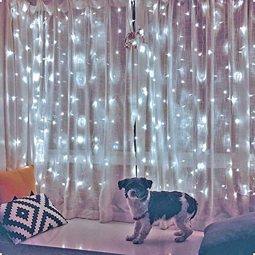 Ever Smart LED Curtain Lights Twinkle String White Lights 8 Modes New Version Fairy Linkable String Light for Christmas Party Wedding Patio Lawn Garden Decorative Lights (White)