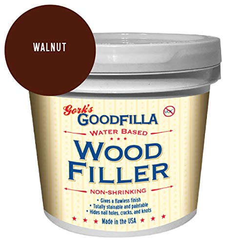 Water-Based Wood & Grain Filler - Walnut - 1 Gallon by Goodfilla | Replace Every Filler & Putty | Repairs, Finishes & Patches | Paintable, Stainable, Sandable & Quick Drying